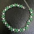 B 925 sterling pulseira de prata com esmeralda naturais com fêmea