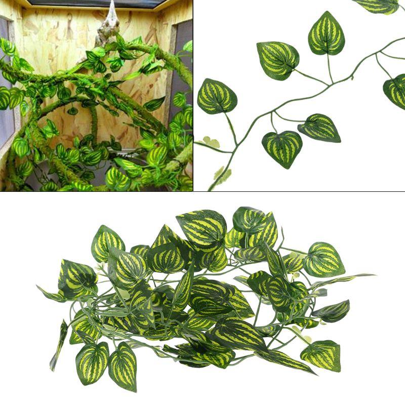 Artificial Watermelon Vine Reptile Lizards Terrarium Climb Decoration Fake Plants Leaves