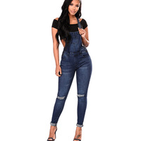 2019 Spring Women Overalls Cool Denim Jumpsuit Ripped Holes Casual Jeans Sleeveless Jumpsuits Hollow Out Slim Rompers Plus Size