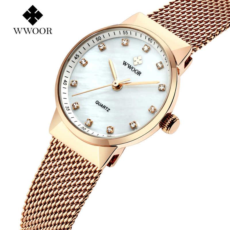 d115cea6ffcc ... Marca de lujo de WWOOR nuevo Simple relojes de mujer reloj de cuarzo de  moda casuales ...