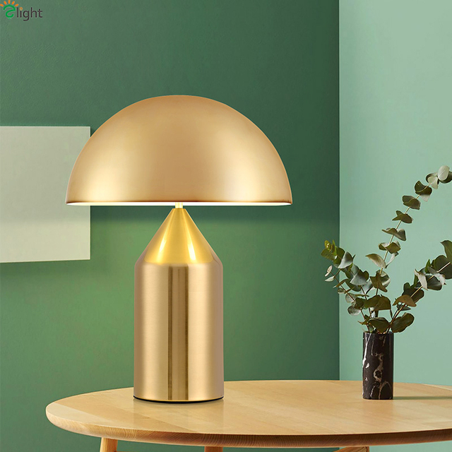Modern Mushroom Led Table Lamp Lustre Gold Metal Bedroom Led Table Lights  Living Room Led Table