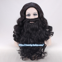 Harry Potter Rubeus Hagrid Wigs Black 50cm Half Long Synthetic Hair + Bear + Free Wig Cap