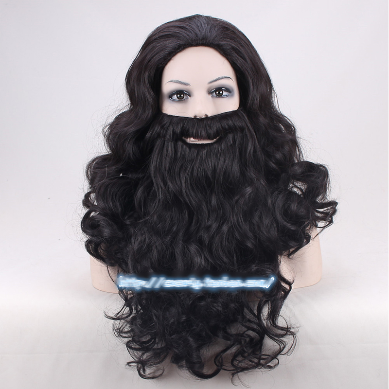 Harry Potter Rubeus Hagrid Wigs Black 50cm Half Long Synthetic Hair + Bear + Free Wig Cap