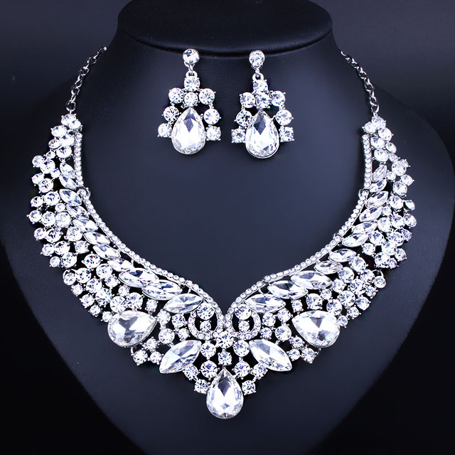 Exquisite European bride Wedding Jewelry Clear Crystal Necklace Earrings for Women Classic Bridal Jewelry sets