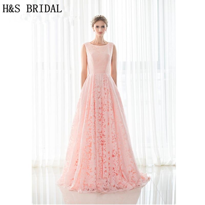 H & S mariée rose dentelle robe de soirée longueur plancher pas cher longues robes de soirée robe de mariage 2019 soirée