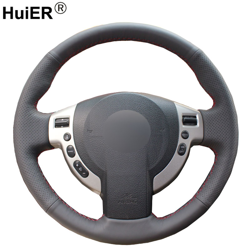 HuiER Hand Sewing Car Steering Wheel Cover Black Leather For Nissan QASHQAI X-Trail NV200 Rogue Steering-wheel Auto Accessorie