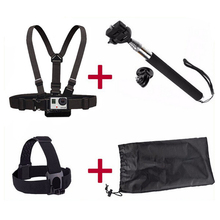 Free Shipping Accessories Set 5 in 1 the Monopod Chest Strap Head Strap for GITUP Gopro