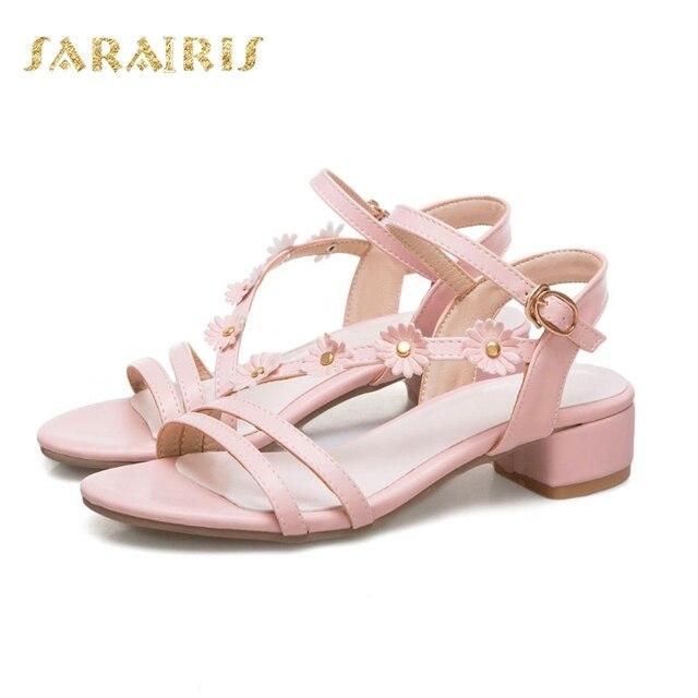 66f8526166 SARAIRIS Large Size 33-45 Fashion Little Flower Belt Strap Summer Shoes  Woman Open Toe