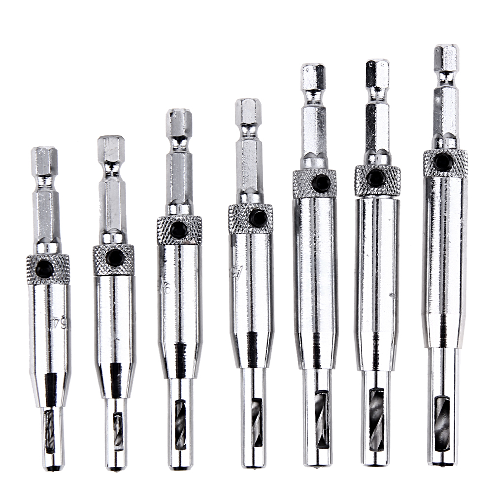 7Pcs/set Self Centering Hinge Cabinet Door Hardware Wood Drill Bit Set 5/64 7/64 9/64 11/64 13/64 1/4 5mm Guide Pilot Hole Drill 4 self centering hinge hardware drill bit set pilot hole f hinges drawer guides home hand tools
