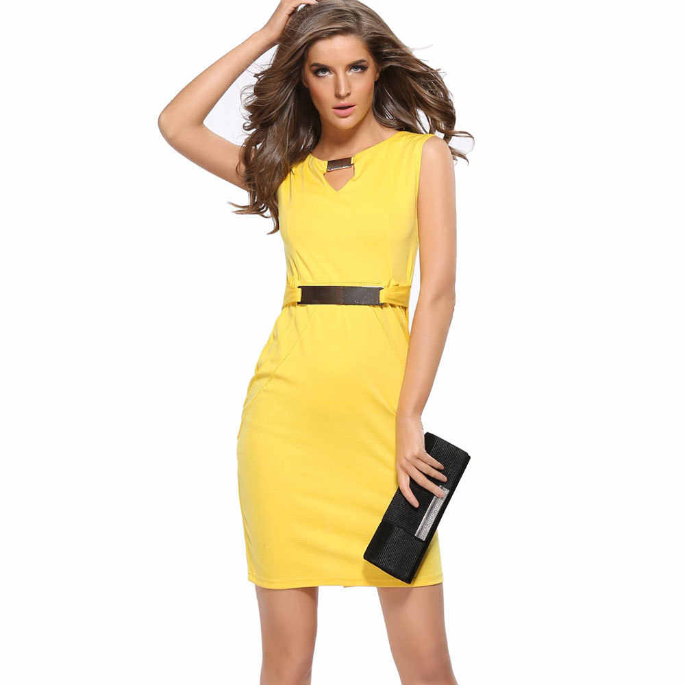 Musim Panas Fashion Hollow Keluar Tanpa Lengan Pensil Lutut Panjang Wanita Kasual Gaun Kuning Merah Biru Hitam Plus Ukuran