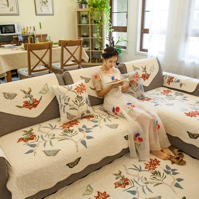 Merveilleux Tarohome Non Slip Sofa Cover Sofa Cushion Flower Embroidery Sofa Slipcovers  For Living Room Flower