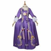18th века Мария Антуанетта Барокко Рококо платье викторианской Танцы праздничное фиолетовое платье карнавальный костюм