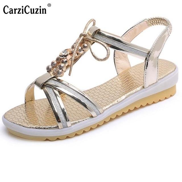 015a5b0c0 Women S Flats Sandals Women Bohemia Flat Sandal Bowtie Beading Students  Summer Beach Vacation Leisure Female Footwear Size 35-39