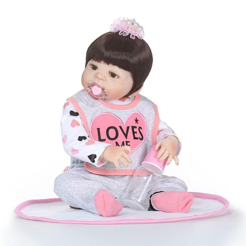 Nicery 22inch 55cm Bebe Reborn Doll Hard Silicone Boy Girl Toy Reborn Baby Doll Gift for Children Gray Bib Pink Giraffe