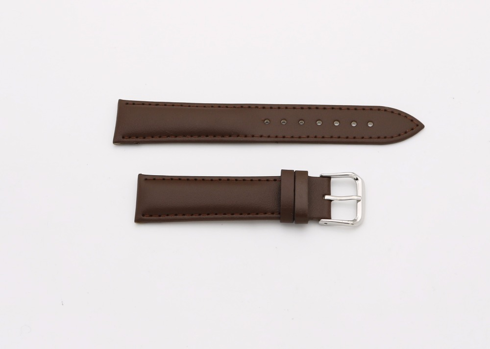 14 16 18 20 22 24mm Men Lady Genuine Cowhide Leather Brown Classic Smooth Wrist Watch Band Strap Belt Silver Polished Pin Buckle