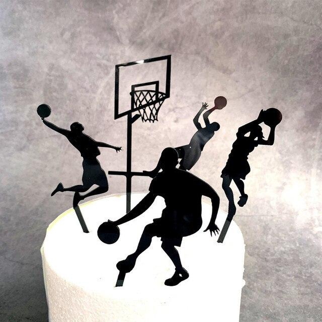 5 個テーマバスケットボールアクリルケーキトッパーノベルティスラムダンクカップケーキトッパー誕生日スポーツパーティーのケーキの装飾 2019 新