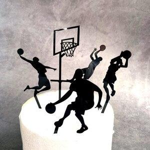 Image 1 - Adorno acrílico para pastel de baloncesto, tema de 5 uds., novedad, Cupcake Slam Dunk, adornos de pastel deportivo para cumpleaños, 2019