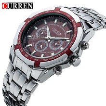 Для мужчин Бизнес часы Curren Для мужчин S Часы лучший бренд класса люкс Военное Дело Полный Нержавеющая сталь кварцевые наручные часы Relogio Masculino