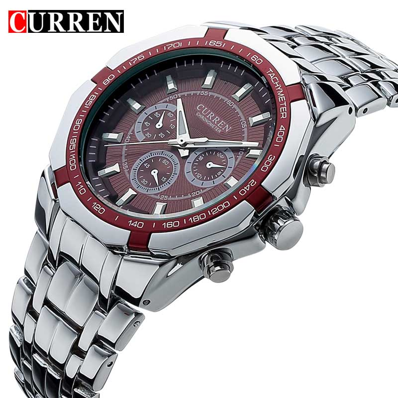 Hot men 39 s business watches men curren luxury brand military wrist watches full stainless steel Curren leisure style fashion watch price