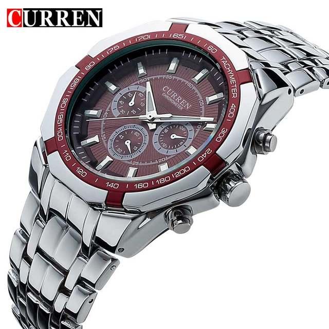 1c670ac2af6 Homens de Negócios Assistir Relógio Curren Mens Relógios Top Marca de Luxo  Militar Completa Aço Inoxidável
