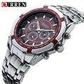 Homens de negócios assistir relógio curren mens relógios top marca de luxo militar completa aço inoxidável quartz relógio de pulso relogio masculino