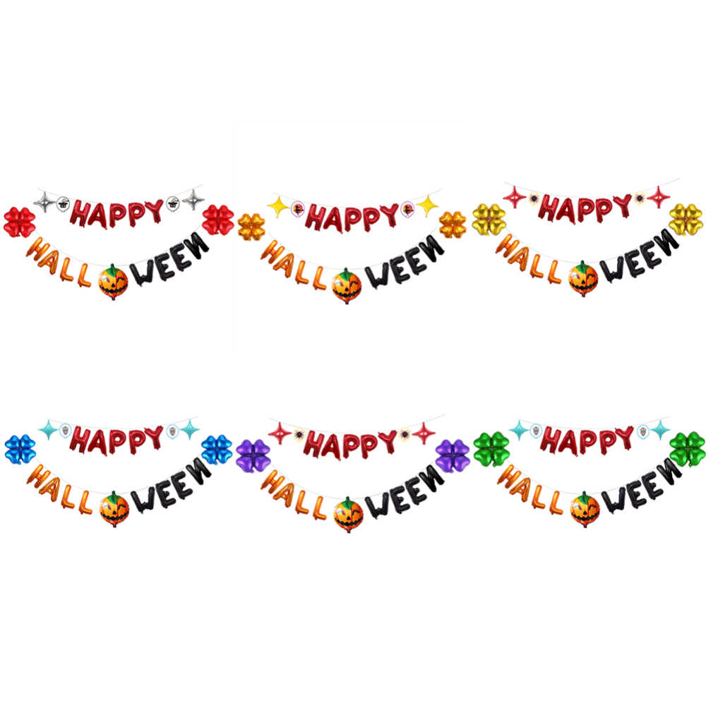Happy Halloween Latex Balloons Banner Festival Home Party Decor Kit Birthday Bunting Paper Flower Mermaid Hanging Ornaments