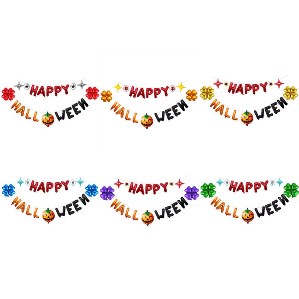 Happy Halloween Latex บอลลูนแบนเนอร์เทศกาลตกแต่งชุดวันเกิด Bunting กระดาษดอกไม้ Mermaid แขวนเครื่องประดับ