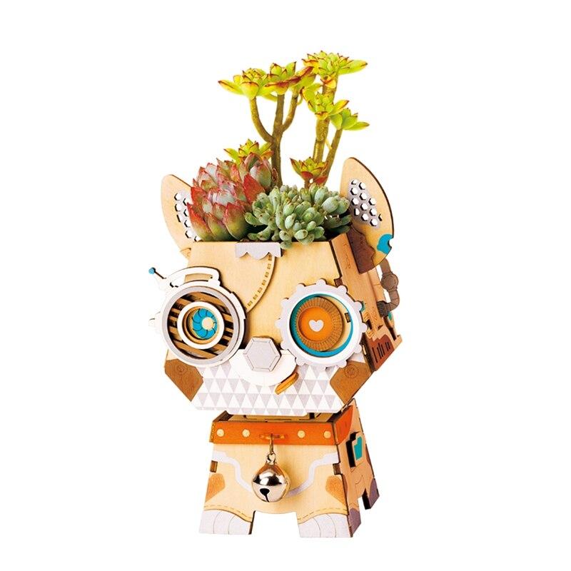 Robotime DIY Punny with Small Bell Wooden Flower Pot Succulents Box Irrigation Desktop Home Garden Supplies