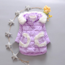 Baby Girls Jackets Parkas Coats Thick Winter Warm Children Outerwear Clothes Kids Fur Hoodies Jacket Clothing Q2043