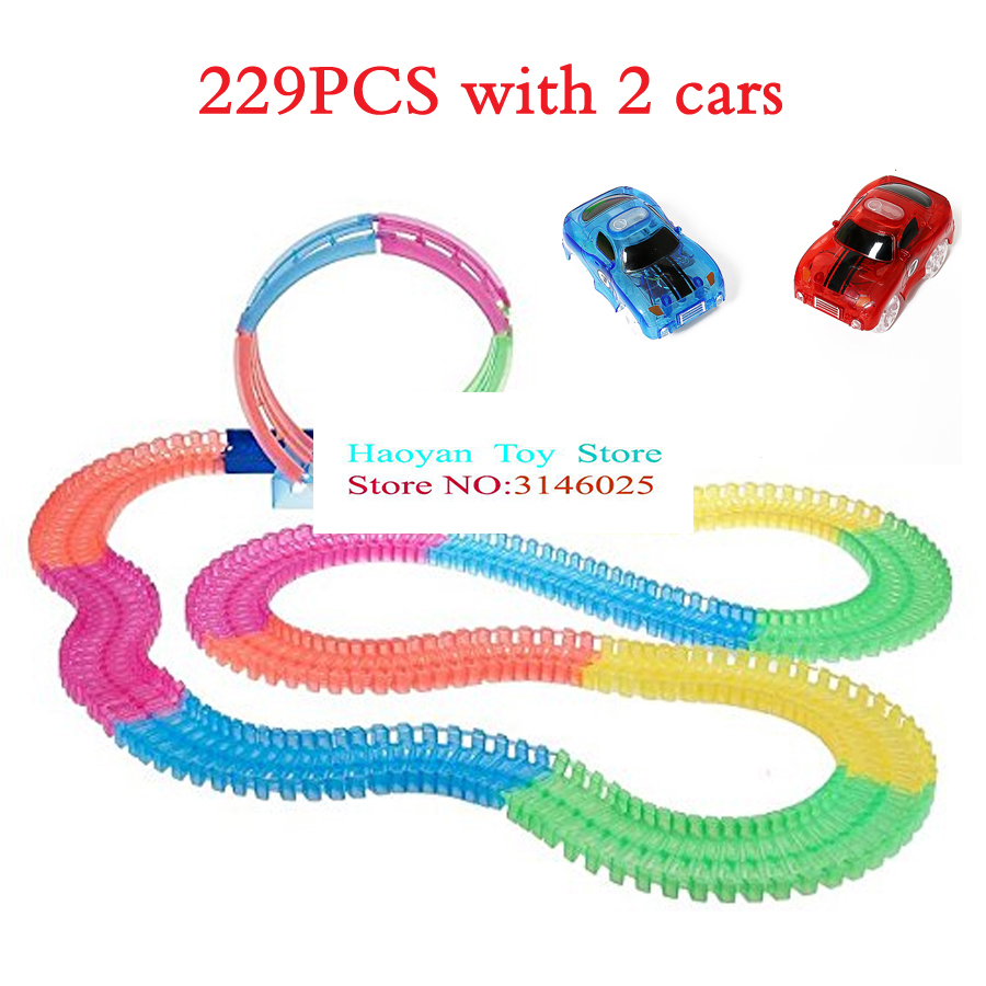 360 Loop Glow In The Dark DIY Assembly Luminous Toy Twister Tracks Bend Flex Slot Race Track Toy Car With 5 LED Flashing Lights ...