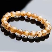 9mm Natural Gold Rutilated Quartz Crystal Woman Man Titanium Brazil Wealthy Stone Round Beads Bracelet Jewelry Bangle  AAAAA