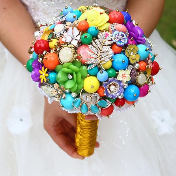 DIY Brooch Bouquet Multicolor Bride Bridal Wedding Pearl Diamond Gem Customizable Bohemian Style Bouquets
