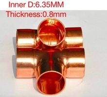 20PCS/LOT Inner D:6.35 mm Thickness:0.8mm  International Standard Copper Welding Tee Pipe Refrigeration Accessories