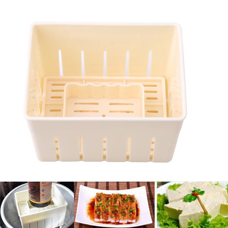 Solid DIY Tofu Mold <font><b>Plastic</b></font> Tofu Press <font><b>Mould</b></font> Homemade Soybean Curd Tofu Making Mold With <font><b>Cheese</b></font> Cloth Kitchen Cooking Tool Set image