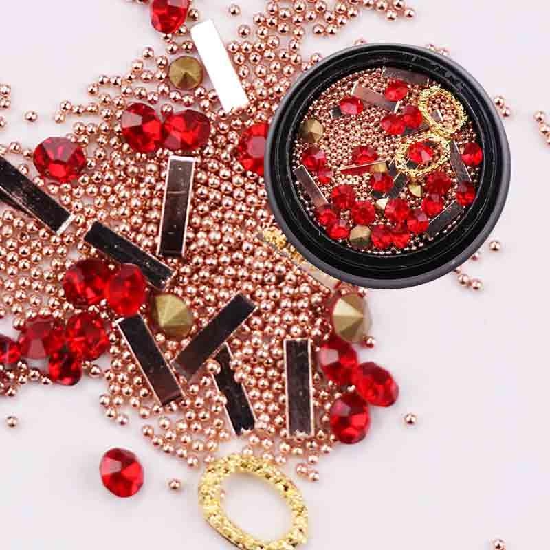 1 Box Nail Crystal Mixed Size Nail Art Rhinestones Beads Metal Charms Jewelry DIY Nail Art Decor Accessory