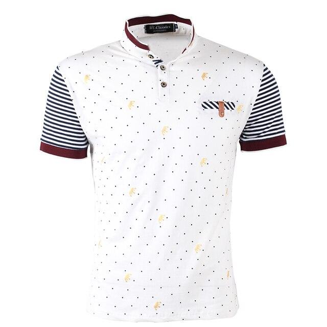 2016 Новая Мода мужская Одежда Мужчины Хлопок Dot Печати Короткие рукава Рубашки Поло Мужчин Плюс Размер Поло Случайные Рубашки Поло #1022