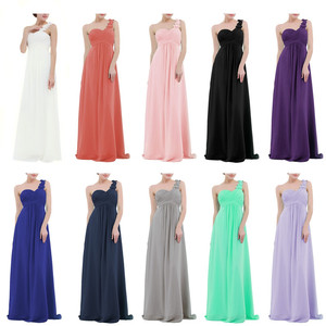 Image 5 - Women Ladies Long Bridesmaid Dress Chiffon One shoulder Pleated Lace High waist Floor Length Dress Wedding Party Prom Gown