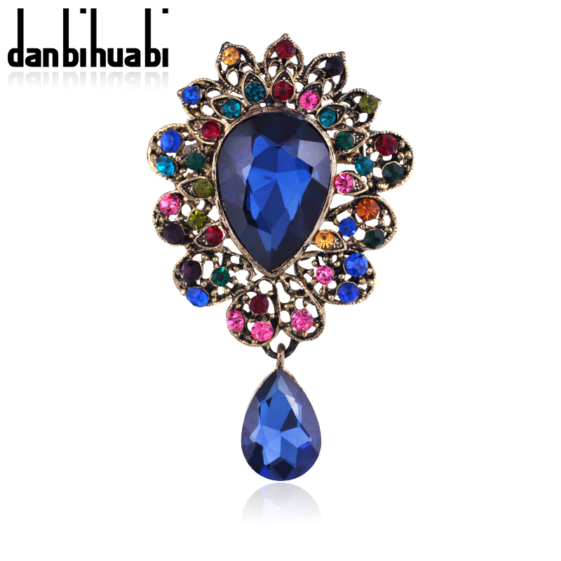 2016 Elegant Six Color Rhinestone Brooch flower Vintage pins and brooches for women brooch pins jewelry accessories danbihuabi