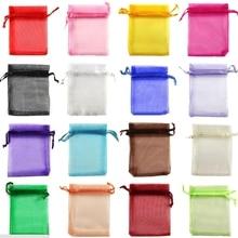 100 шт./лот, разные цвета, 5x7 см(2x3 дюйма), упаковка для ювелирных изделий, сумки из органзы, сумки для конфет на свадьбу, день рождения, подарочные сумки и сумки