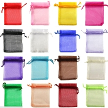 100 pçs/lote multi cores 5x7cm (2x3 polegada) embalagem de jóias drawable organza sacos de presente de doces de aniversário de casamento sacos & bolsas