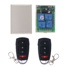 1 Set DC 24V 4 Channel Relay Wireless RF Remote Control Switch Receiver Module + 2 Transmitter vgg24 220v 2 channel remote switch module 2 key remote control green