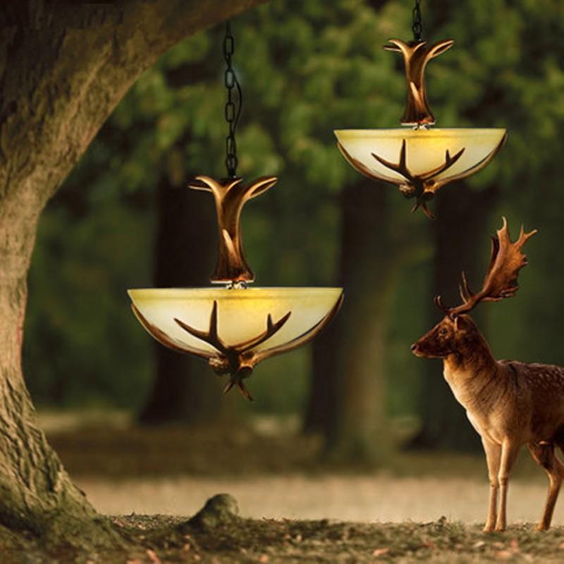 Antler Crystal Chandelier For Europe Country Retro Resin Deer Horn Lamp lustre Living Room lampadari For Home Decoration Light