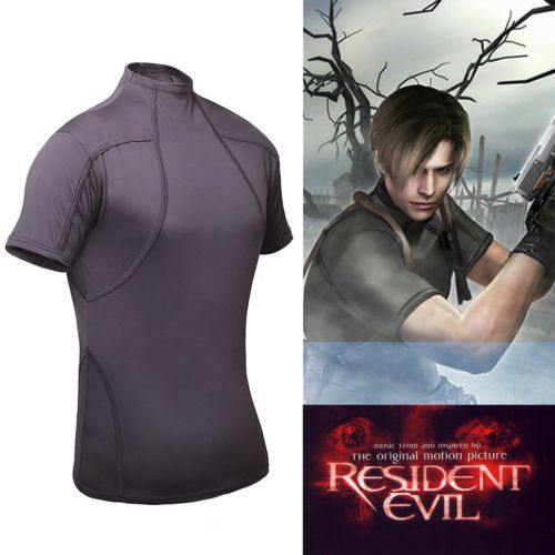 Resident Evil 4 Biohazard Leon Kennedy Grey Tee T Shirt Cosplay Costume 2XS-XL High Quality Free Shipping