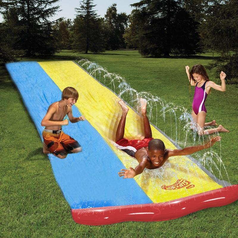 Inflatable Racer Water Slide Double Surf Rider N Slide Blast Through Splash Pool Kids Park Backyard Play Fun Outdoor Splash Slip backyard slides park inflatable water slide with pool for kids