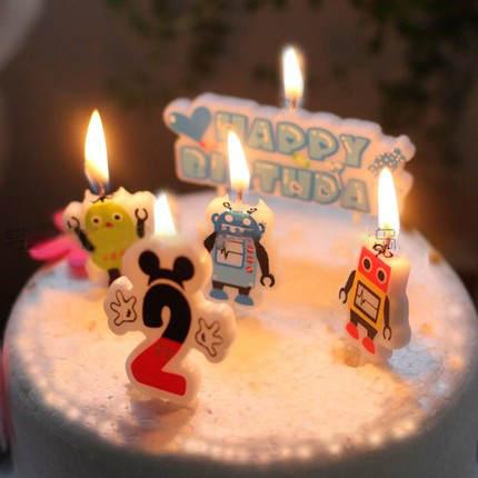 Birthday Cake Candles Cartoon Modeling Candle Boy Prince Three Robot PVC Box No Smoke