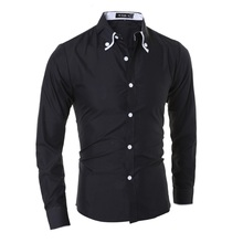 Men French Cufflinks Shirt 2017 New Mens Long Sleeve Casual Male Brand Shirts Slim Fit Cuff Dress For