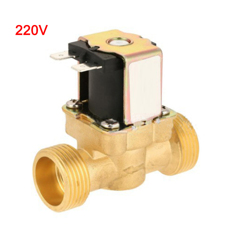 Copper Water Valve AC 220V DC 12V24V Water Solenoid Valve Electric DC N/C Air Inlet Flow Switch For Water Air With Filter Valve