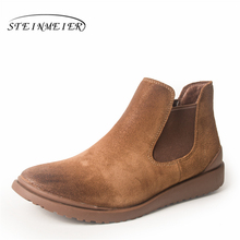 100% Genuine Leather cow suede winter men boots Ankle chelsea Boots men shoes elastic band Handmade oxford shoes for men brown