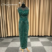 Настоящий зеленый Русалка Элегантный тонкий длинное вечернее платье из бисера Цветы 2018 Вечеринка платья торжественное платье с задней Раз
