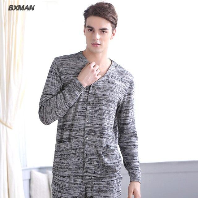 BXMAN Бренд мужской Случайные Pijamas Hombre Полиэстер Полосатый V-образным Вырезом Полный Рукав Пижамы Для Пары Модальный 54